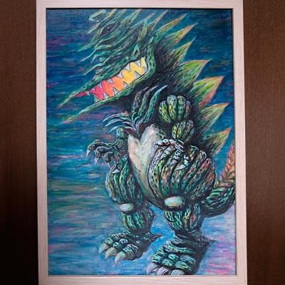 ワニラ〜ギザラキャンバス画の画像