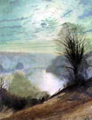 【部分】 「On the Tees, Near Barnard Castle」 (detail) by John Atkinson Grimshaw (1836-1893)  Leeds City Art Gallery, UK