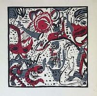 Kandinsky's book  Sounds エデンの庭「Garden of Eden」 1913年出版の詩画集「響き」より。 彩色された木版画だ。【カンディンスキーは1902年に版画を始め、1914年までに全版画203点の約4分の3にあたる152点を制作。この時期の版画はほとんどが木版画で、この作品のヴァージョンを「最高傑作のひとつ」と見なす研究者もいる。】(引用:文化遺産オンラインhttp://bunka.nii.ac.jp/SearchDetail.do?heritageId=70662)とあるが、絵本の挿絵のような、メルヘンチックなものが多数ある。1915−1921年の非対象絵画から幾何学的抽象への過渡期の前のことだ。つまり、ファーランクスの教師をしていた頃で、ミュンターと出会ったこの時期から、ミュンヘン,ムルナウ時代(1910−1914)までの間の製作が多かったということだ。
