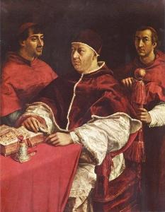 Raphael, Leo X with Cardinals Giulio de Medici and Luigi de Rossi, c. 1517