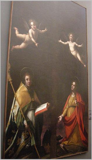 Jacopo da empoli, san ludovico di tolosa, santagata a due angeli sotto una croce