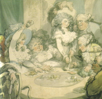 Lady Elizabeth and Georgiana Cavendish at the gaming table in Devonshire House in London 1791 by Thomas Rowlandson