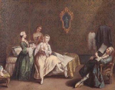 Pietro Longhi (imitatore di) Il risveglio della dama 1760 ca Gallerie di Palazzo Leoni Montanari