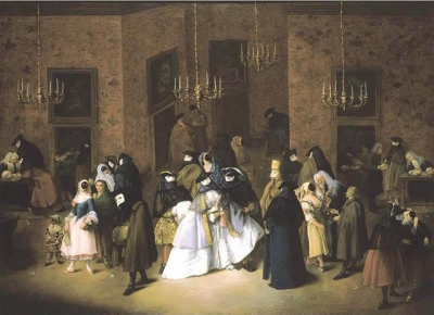 PIETRO LONGHI(?)  THE RIDOTTO IN VENICE PROPERTY FROM A FRENCH NOBLE FAMILY ca.1750