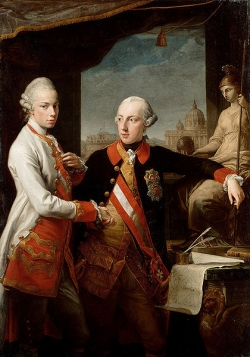 Pompeo Batoni 1769 Emperor Joseph II (right) and his younger brother Grand Duke Leopold of Tuscany (left), who would later become Holy Roman Emperor as Leopold II