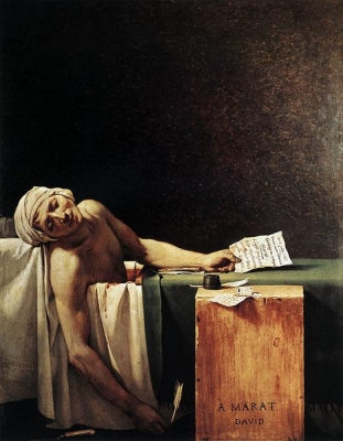 Death of Marat by David 1793  w:Jacques-Louis David (Musées Royaux des Beaux-Arts)