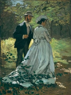 Claude Monet, Bazille and Camille (Study for Luncheon on the Grass), c. 1865. Oil on canvas, 93.5 x 69.5 cm. National Gallery of Art, Washington, DC. Ailsa Mellon Bruce Collection. Photo © Board of Trustees, National Gallery of Art, Washington