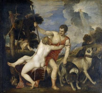 Vecellio di Gregorio Tiziano Venus and Adonis 1554 Museo Nacional del Prado