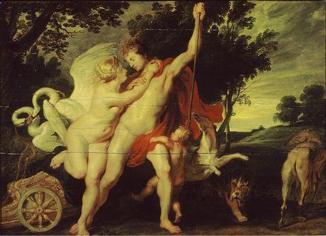 Venus poogt Adonis van de jacht te weerhouden Atelier van Peter Paul Rubens ca. 1611-1615  Mauritshuis