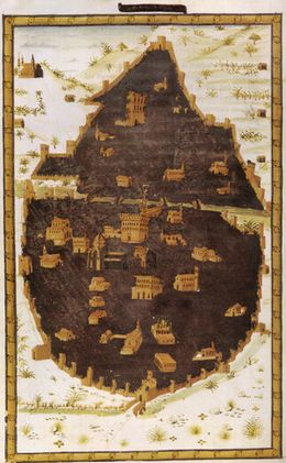 Miniatore fiorentino, pianta di firenze da poggio bracciolini historia florentina, bibl ap vaticana
