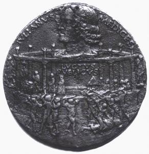 Bertoldo di giovanni, medaglia della congiura dei pazzi, lato di giuliano de medici, 1478-3