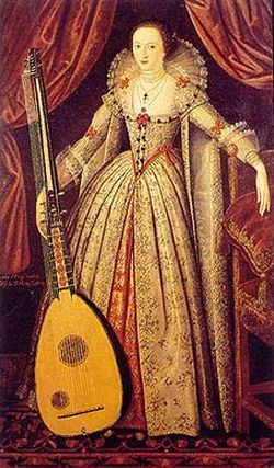 Lady Wroth holding a theorbo (c. 1620) attributed to John dc Critz (1555-1641