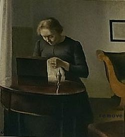Vilhelm Hammershoi - Interior with a sewing woman