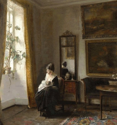 MOTHER AND CHILD AT THE WINDOW IN THE LIVING ROOM  Bruun Rasmussen
