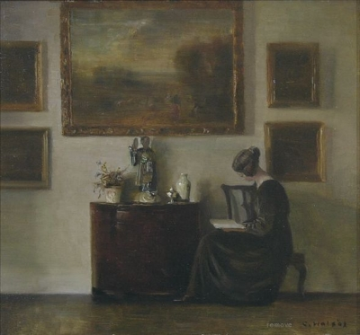 Interior with woman reading
