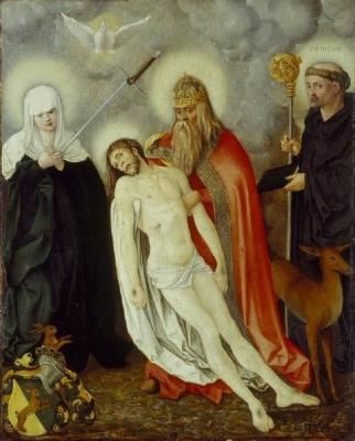 Die hl. Dreifaltigkeit zwischen der Schmerzensmutter und dem hl. Aegidius