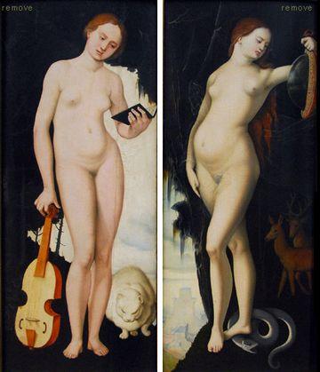 Frau mit Spiegel, Schlange, Hirsch und Hindin