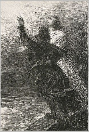 Henri de Fantin-Latour. Le Vaisseau-Fantome: Act III - Ravissement de Senta et du Hollandais (The Flying Dutchman: Act III - The Rapture of Senta and the Dutchman)