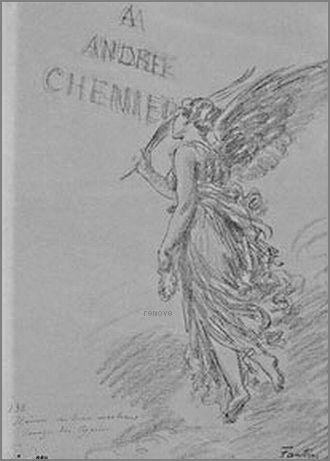 La Renommée (Hommage à André Chenier) Dessin (mine de plomb) d'Ignace Henri Fantin-Latour