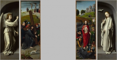 Christ Carrying the Cross, with the Crucifixion; The Resurrection, with the Pilgrims of Emmaus (triptych wings),Archangel Gabriel; The Virgin Annunciate (exterior of triptych wings), ca. 1510
