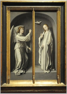 Archangel Gabriel; The Virgin Annunciate (exterior of triptych wings), ca. 1510