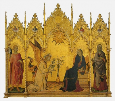 Simone Martini. Annunciation. 1333. Wood panel. Galleria degli Uffizi