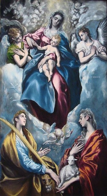 The Virgin and Child with St Martina and St Agnes 1597-99 by EL GRECO  National Gallery of Art, Washington