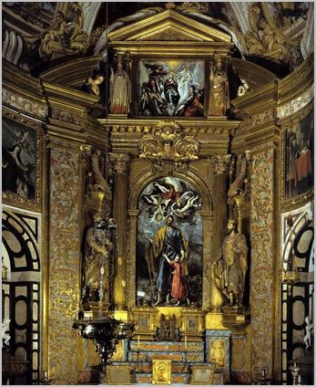 capilla de San José   Altarpiece Saint Joseph and the Infant Christ with The Coronation of the Virgin by El Greco