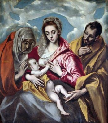 La Sagrada Familia con Santa Ana  THEOTOKÓPOULOS, Doménikos (El Greco)  ca. 1595