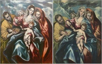 La Sagrada Familia con María Magdalena y plato de frutas by El Greco