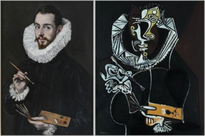 Retrato de Jorge Manuel by El Greco Museo de Bellas Artes de Sevilla ,  Portrait of a painter, after El Greco, 1950 Artist: Pablo Picasso Collection Rosengart, Lucerne