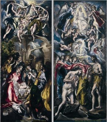 El Greco presenti a Palazzo Barberini(Galleria Nazionale dArte Antica, Rome), l'Adorazione dei Pastori e il Battesimo di Gesù. Adorazione dei Pastori Il Battesimo di Gesù