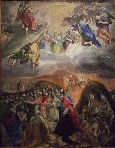 The Adoration of the Name of Jesus by EL GRECO Chapter House, Monasterio de San Lorenzo, El Escorial