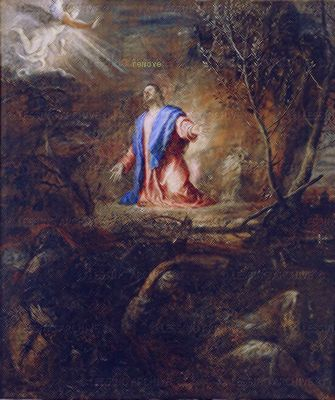 Titian(Tiziano Vecelli) Christ praying in the garden of olives Sala vicarial del Monasterio de San Lorenzo de El Escorial