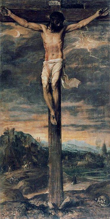 Crucifixión. 1555.  Sacristía del Real Monasterio de San Lorenzo de El Escorial. Tiziano