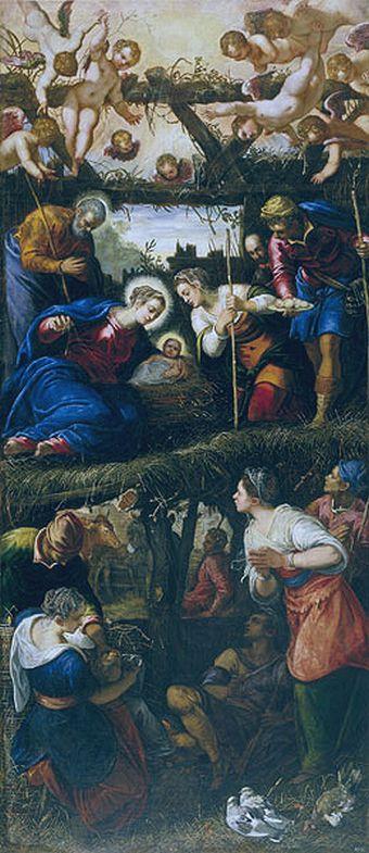 Adoración de los pastores de Tintoretto.