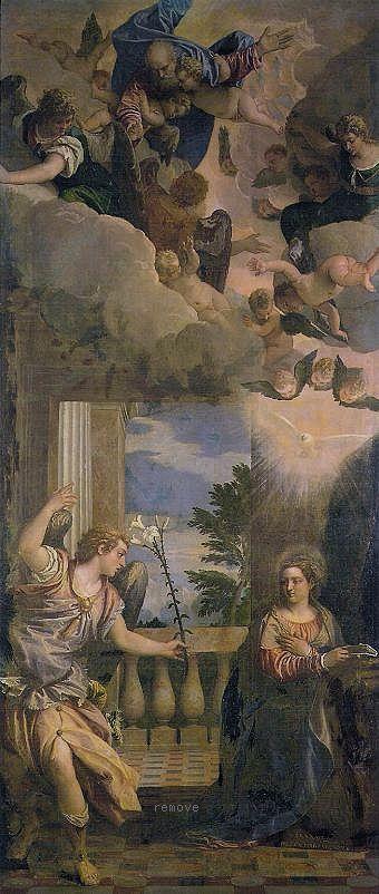 Veronés. La Anunciación, 1583. Sala cuarta. Sala de paseo. Palacio de Verano. Casa del Rey. Monasterio de El Escorial