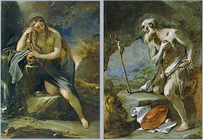 Luca Giordano, Mary Magdalen repentant.Churchfather Saint Jerome