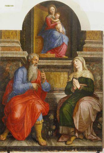 Coxcie,Michiel van Madonna, Joachim and Anna, her parents. Real Monastero de San Lorenzo, El Escorial, Spain