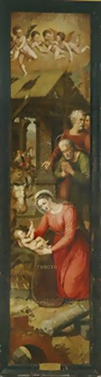 Coxcie,Michiel van Madonna, Joachim and Anna, her parents. Real Monastero de San Lorenzo, El Escorial, Spain