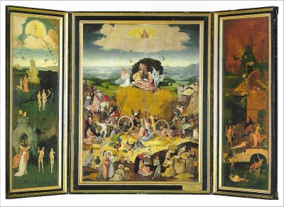 El Bosco. El carro de heno, tríptico. Salas Capitulares. Monasterio de El Escorial