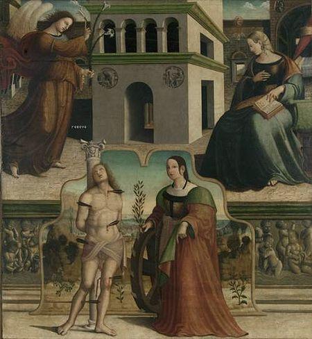 Annunciazione con 1515 by Francesco Fantoni Da Norcia
