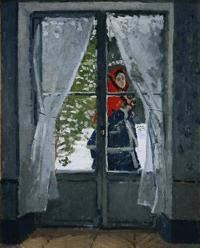 モネ《赤いスカーフ、モネ夫人の肖像》