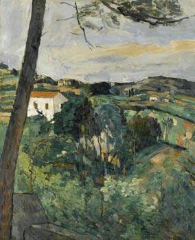 セザンヌ《赤い屋根のある風景 あるいは レスタックの松》(1875-76)