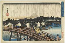歌川広重《東都名所 日本橋之白雨》(1832-39)