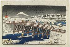 歌川広重《東都名所 日本橋雪中》(1839-42)