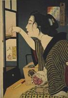 月岡芳年《風俗三十二相 暗さう 明治年間妻君の風俗》(1888)