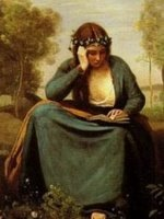 コロー_本を読む花冠の女