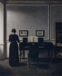 ハンマースホイ_室内、ピアノと黒いドレスの女性、ストランゲーゼ30番地