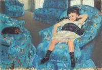 カサット_青いひじ掛け椅子の少女